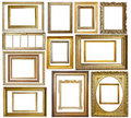 Set of  Vintage gold picture frame Royalty Free Stock Photo