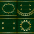 Set of vector vintage golden frames on green backgrounds Royalty Free Stock Photo