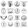 Set of vintage golf labels, badges