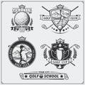 Set of vintage golf labels, badges, emblems and design elements.