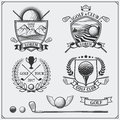 Set of vintage golf labels, badges, emblems and design elements.
