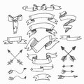 Set of Vintage Hand-Sketched Elements.Banners Royalty Free Stock Photo