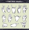 Set of vintage hands Stock Photo