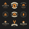 Set Vintage Happy Halloween Badges and Labels