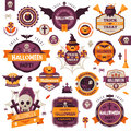 Set Of Vintage Happy Halloween Badges and Labels Royalty Free Stock Photo