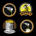 Set of vintage honey emblems. Logo illustrations. Agriculture labels on a black background.
