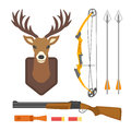 Set of vintage hunting symbols camping objects design elements flat style hunter weapons and forest wild animals and