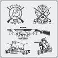 Set of vintage hunting wild boar labels, badges, emblems and design elements.