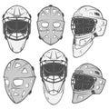 Set of vintage ice hockey goalkeeper helmet design elements for emblems Royalty Free Stock Photo