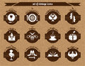 Set of vintage icons image public places in the form on the wooden background Stock Photo