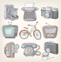 Set of vintage items icons Royalty Free Stock Images