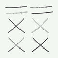 Set of vintage katana swords in retro style vector illustration Royalty Free Stock Image