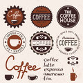 Set of vintage labels and coffee Royalty Free Stock Photo