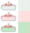Set of vintage labels with cupcake and candies