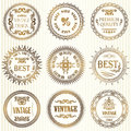 Set of vintage labels in gold on a light background retro style collection Stock Image