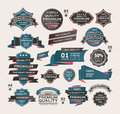 Set of vintage labels ribbon retro style desig design elements cartoon vector illustration Stock Photography