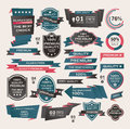 Set of vintage labels ribbon retro style desig design elements cartoon vector illustration Royalty Free Stock Photos