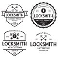 Set of vintage locksmith logo, retro styled key cutting service emblems, badges, design elements, logotype templates