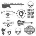 Set of vintage logo badge emblem or logotype collection elements for music shop and guitar shop Royalty Free Stock Photo