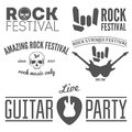 Set of vintage logo badge emblem or logotype collection elements for rock festival guitar party and musical performance Royalty Free Stock Image