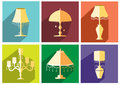 Set of vintage and luxury lamp table flat icon,Vector illustrations