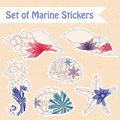 Set of vintage marine stickers vector wall paper window Stock Images