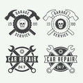 Set of vintage mechanic labels, emblems and logo. Vector illustration