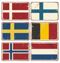 Set of vintage metal signs with flags vector illustration retro tin state textured grungy backgrounds Stock Photo