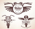 Set of vintage motorcycle labels, badges Royalty Free Stock Photo