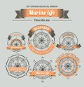 Set Vintage nautical emblem Royalty Free Stock Images