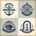 Set of vintage nautical labels Royalty Free Stock Photo