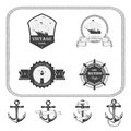 Set of vintage nautical labels, icons and design elements Royalty Free Stock Photo