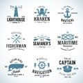 Set of vintage nautical labels and signs with retro typography anchors steering wheel knots seagulls wale on isolated Stock Images