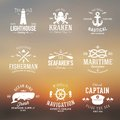 Set of Vintage Nautical Labels or Signs With Retro Royalty Free Stock Photo