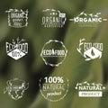 Set of vintage organic labels