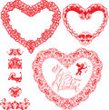 Set of vintage ornamental hearts shapes with calli calligraphic text be my valentine and ornament elements valentines day card Stock Image