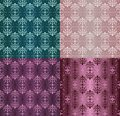Set of Vintage Ornaments Seamless Patterns with Flower Designs in Damascus Style claret background vector illustration Royalty Free Stock Photo