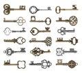 Set of vintage ornate keys Royalty Free Stock Photo