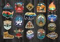 Set of Vintage Outdoor Summer Camp Logo Patches on Wood board. Hand drawn and vector emblem designs. Great for shirts, stamps, sti Royalty Free Stock Photo