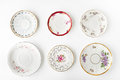 Set of vintage plates on the white background Royalty Free Stock Photo