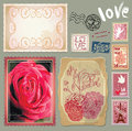 Set of vintage postcards with a beautiful hand dra drawing roses and post stamps for valentines day design Royalty Free Stock Images