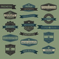 Set of vintage quality seal label Royalty Free Stock Photo