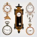 Set of vintage retro clocks brown Royalty Free Stock Photo
