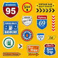 Set of vintage retro gasoline signs and labels Stock Images