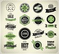 Set of vintage retro label premium quality badge and old style Royalty Free Stock Photography