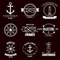 Set of vintage retro nautical badges and labels.