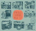 Set of vintage retro old camera hand drawn vector illustration engraved style Stock Photography