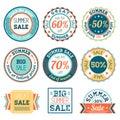 Set of vintage retro summer sale logos labels, posters, stickers, badges. Vector illustration.