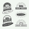 Set of vintage retro surfing, summer and travel logos, emblems,