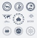 Set of vintage retro tourist badges and labels Stock Image